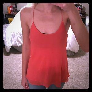 Adorable chiffon salmon tank top